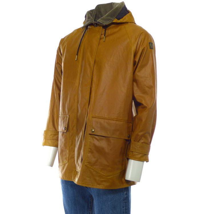 Belstaff Jacke Kurz Mantel Jacke Gr. M Braun Gelb mit Kapuze (MUC) – Bild 3