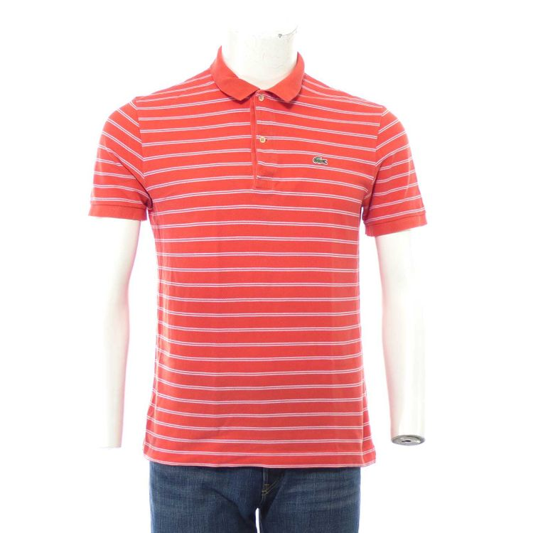 Lacoste Polo Shirt Gr. 5 // L in Orange Weiß gestreift (AHB) – Bild 1