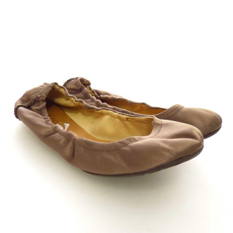 Pedro García Satin Leder Ballerina Flats Schuhe Gr. 36 in Graubeige Beige (AHB) – Bild 1
