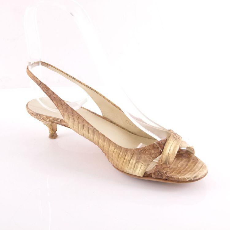 Miu Miu by Prada Leder Sandaletten Schuhe Gr. 38 Braun Gold Reptil Optik (HH) – Bild 2