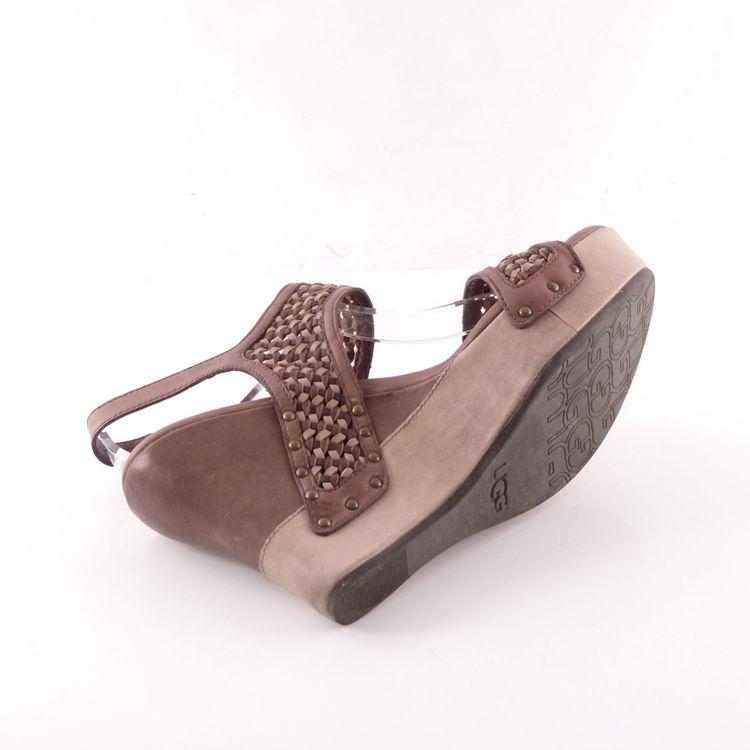 Ugg Australia W Assia Leder Wedges Sandaletten Schuhe 40 Braun Flecht Optik (HH) – Bild 5