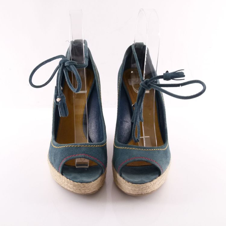 Sergio Rossi Wild Leder Wedges Sandaletten Schuhe Gr. 41 Blau Quaste Tassel (HH) – Bild 3