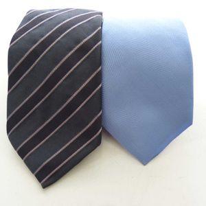 Armani 2er Set Krawatte Blau Grau Rosa gestreift 100% Seide (HH)