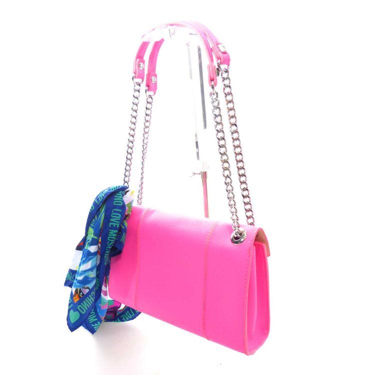 Love Moschino Schultertasche Tasche inkl. Tuch in Neon Rosa Pink NEU (MUC) – Bild 3