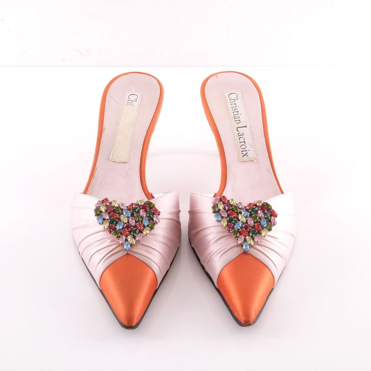 Christian Lacroix Satin Pantoletten Slipper Schuhe Gr 38 Rosa Orange Strass (HH) – Bild 3