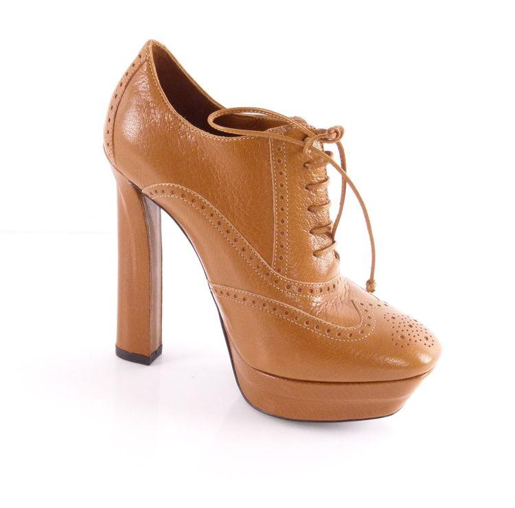 Bottega Veneta Budapester Leder High Heel Schnür Schuhe 36 Braun Wie Neu (HH) – Bild 2