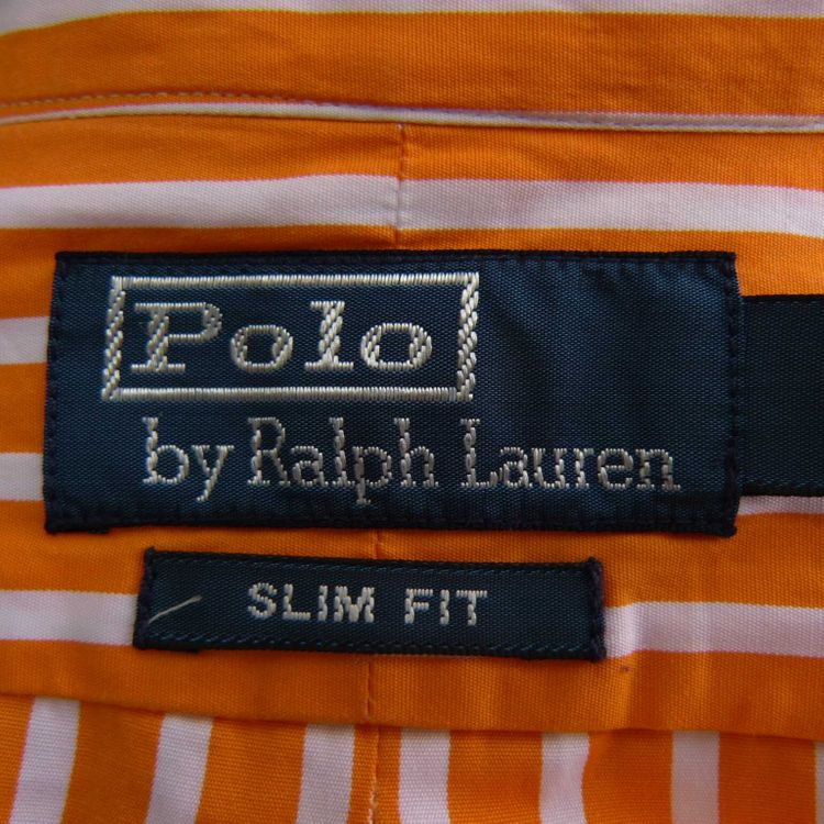 Polo Ralph Lauren slim fit Hemd Gr. S in Orange Weiß gestreift (HH) – Bild 3