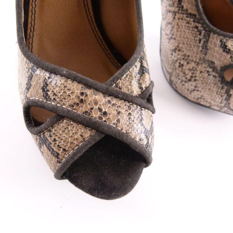 Blanco Shoes Leder High Heels Plateau Peeptoes Schuhe 38 Braun Reptil Optik (HH) – Bild 5