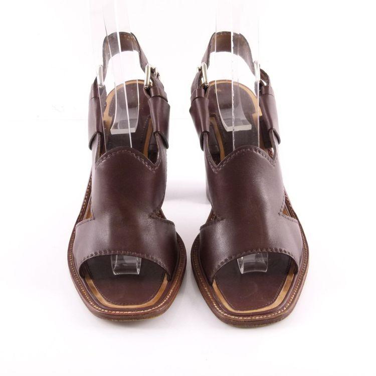 Prada Leder Sandaletten Schuhe Gr. 36 Braun (HH) – Bild 3