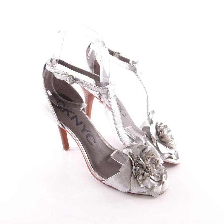 DKNYC High Heel Sandaletten Schuhe 39 / 8,5 Silber Leder Blumen Applikation (HH) – Bild 1
