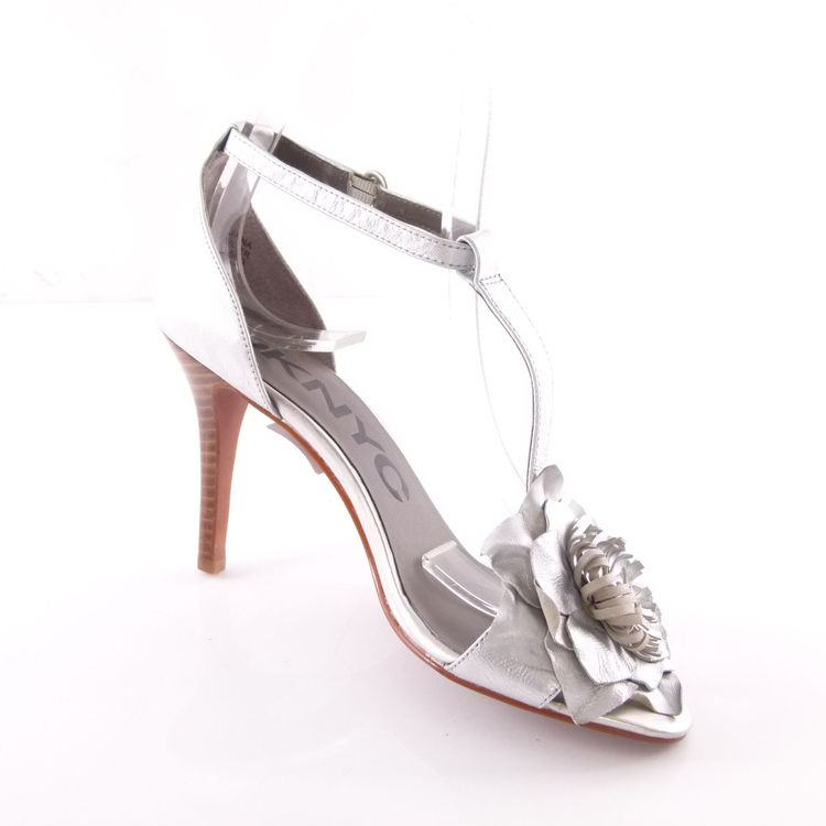 DKNYC High Heel Sandaletten Schuhe 39 / 8,5 Silber Leder Blumen Applikation (HH) – Bild 2