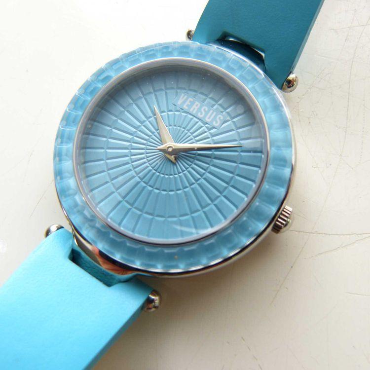 Versus Versace 3C7200 WR 30m Leder Armbanduhr Uhr in Himmelblau Blau NEU (MUC) – Bild 2