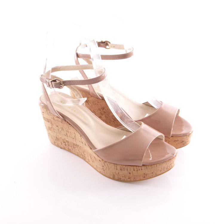 Rene Lezard Lack Fessel Riemen Wedges Sandalette Schuhe Gr. 40 Nude Beige (HH) – Bild 1