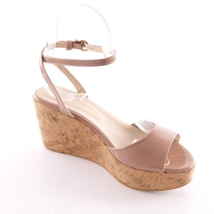 Rene Lezard Lack Fessel Riemen Wedges Sandalette Schuhe Gr. 40 Nude Beige (HH) – Bild 2