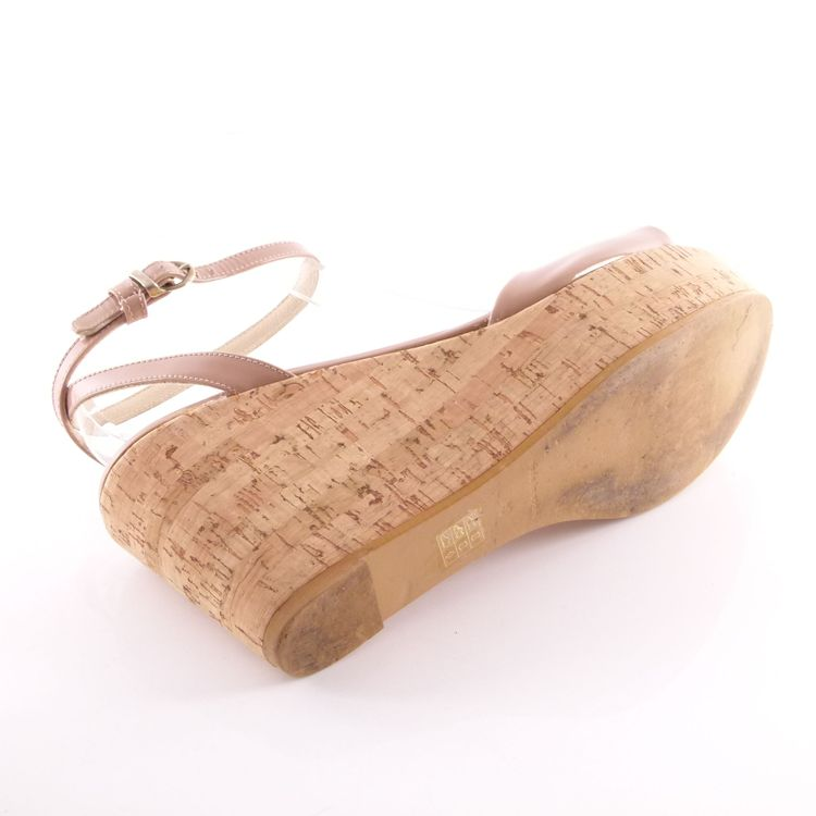 Rene Lezard Lack Fessel Riemen Wedges Sandalette Schuhe Gr. 40 Nude Beige (HH) – Bild 5