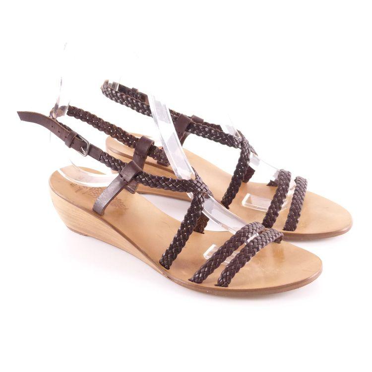 N.D.C. Leder Riemchen Wedges Sandaletten Schuhe Gr. 40 Braun Flechtoptik (HH) – Bild 1