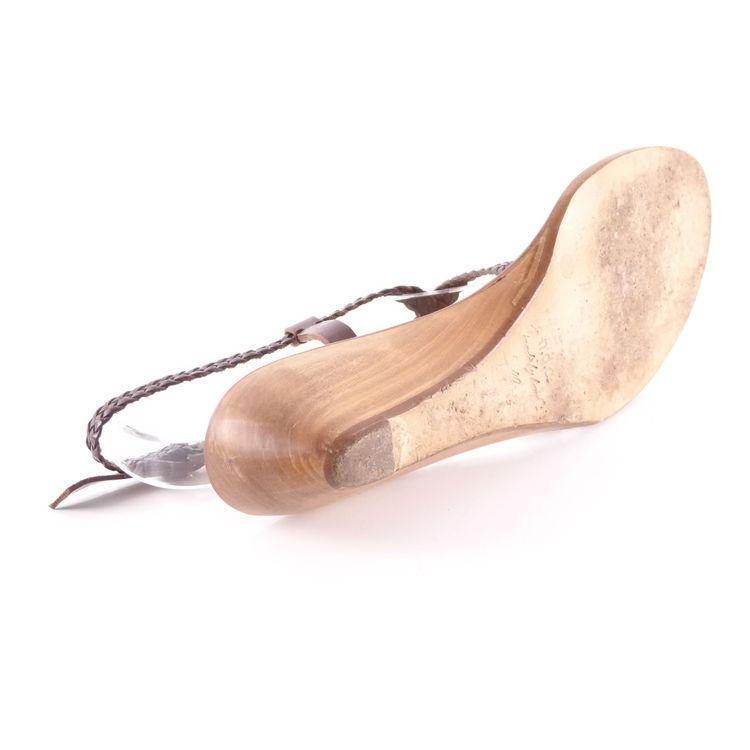 N.D.C. Leder Riemchen Wedges Sandaletten Schuhe Gr. 40 Braun Flechtoptik (HH) – Bild 5