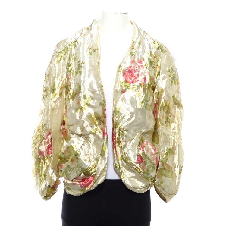 Wunderkind Couture Blazer Blouson Gr. 42 in Creme Beige Floral Print Seide (AHB) – Bild 1
