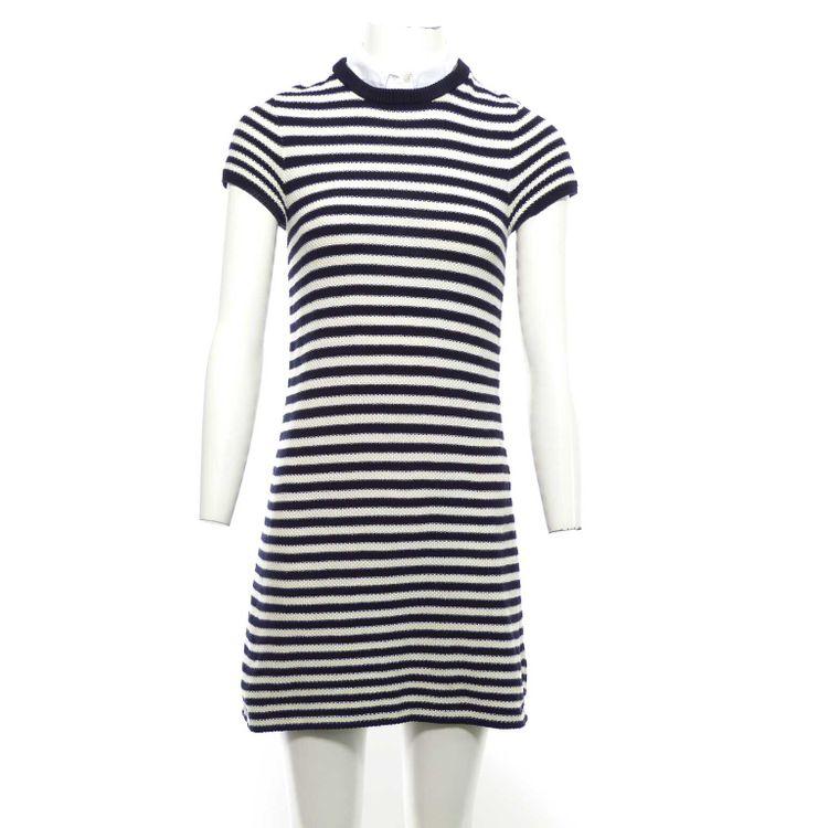 Comptoir des Cotonniers Strick Kleid Gr. XS in Dunkel Blau Weiß gestreift (AHB) – Bild 1