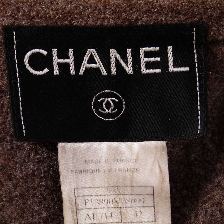 Chanel Boucle Jacke Gr. 40 DE / 42 FR in Braun 100% Wolle (HH) – Bild 3