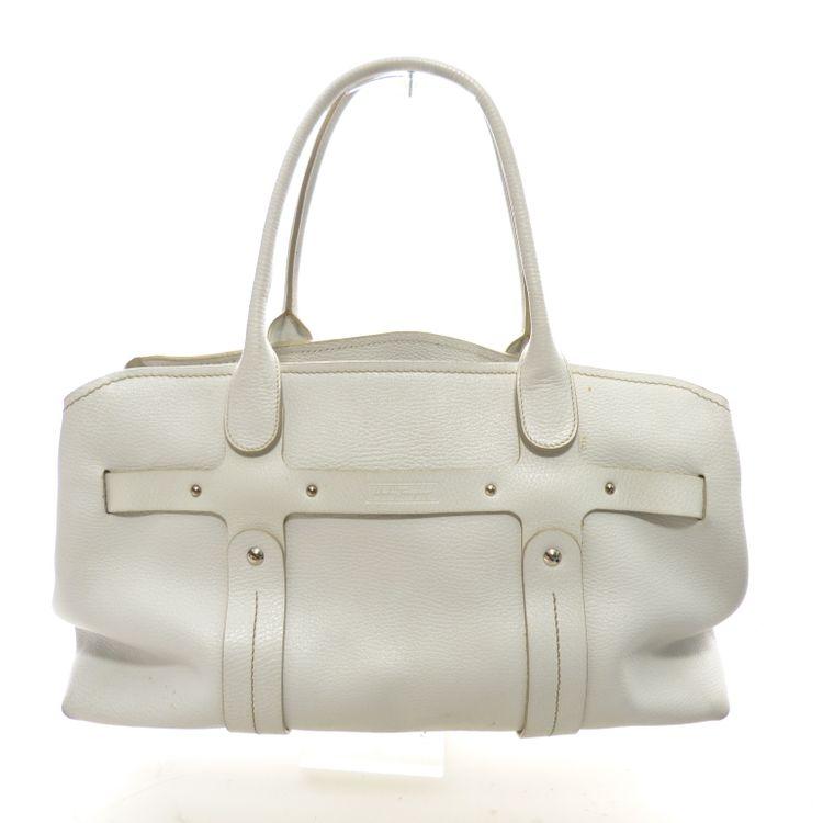 Salvatore Ferragamo Leder Handtasche Tasche in Weiß (AHB) – Bild 1