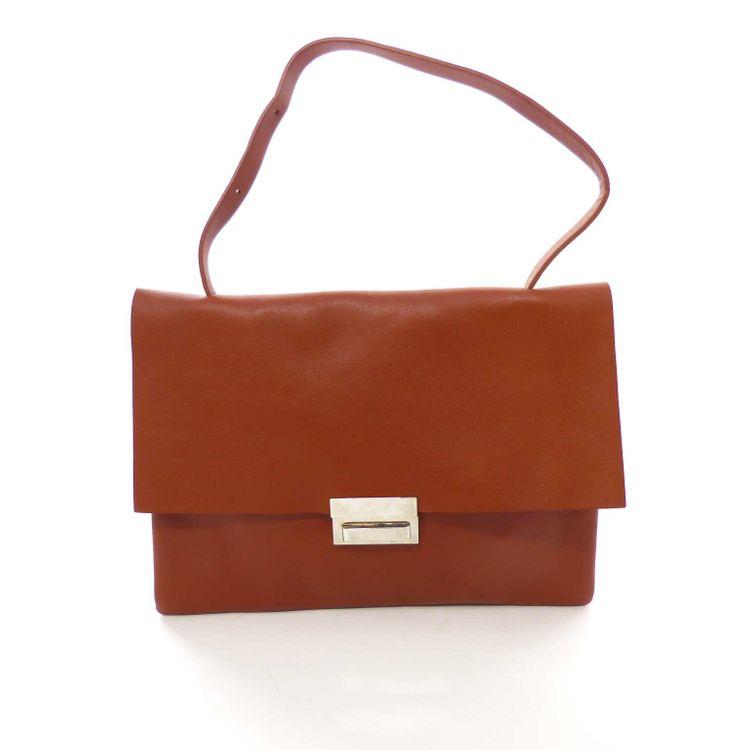 COS Leder Envelope Tragetasche Tasche in Cognacbraun Braun (HH) – Bild 1