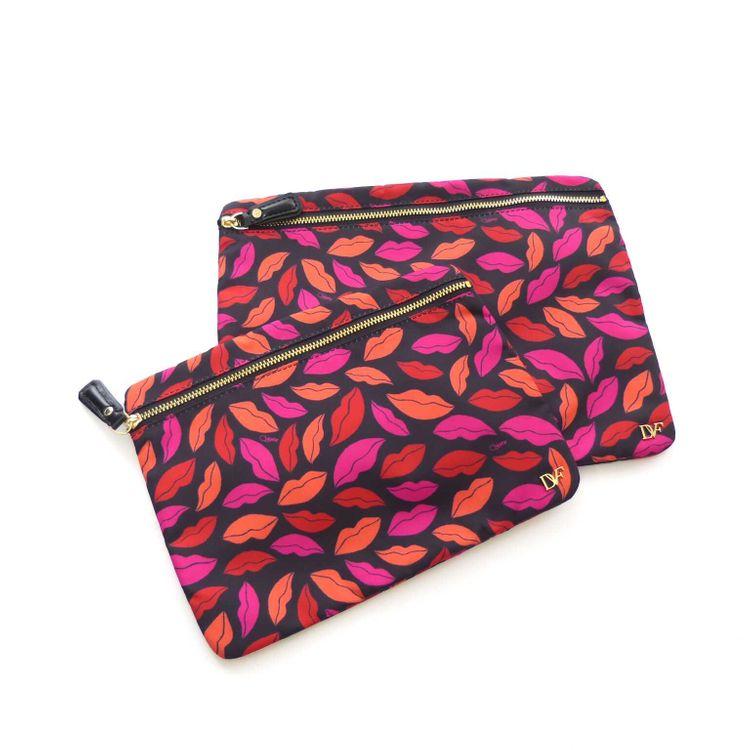 Diane von Furstenberg Voyage Make-Up Pouch Tasche in Schwarz Rosa Motiv (HH) – Bild 1