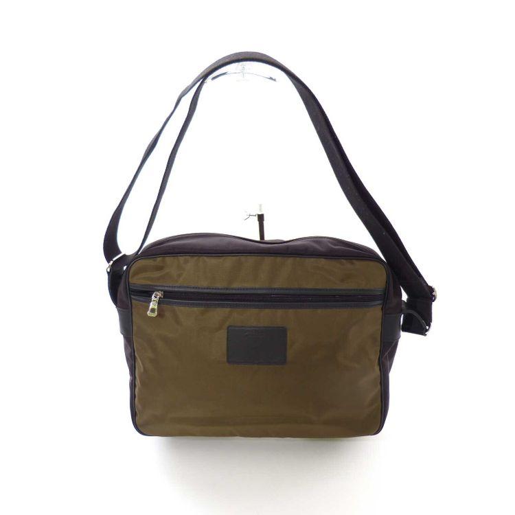 Longchamp Nylon Laptop Messenger Tasche in Grünbraun Dunkel Braun (HH) – Bild 1