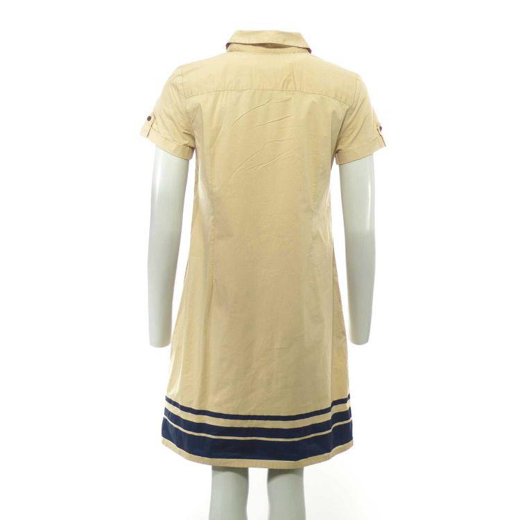 Tommy Hilfiger Kurzarm Hemd Kleid Gr. 38 // 8 in Beige Blau (HH) – Bild 2