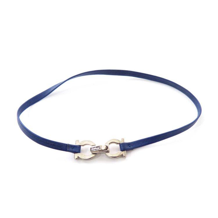 Ferragamo Leder Armband in Marine Blau (AHB) – Bild 1