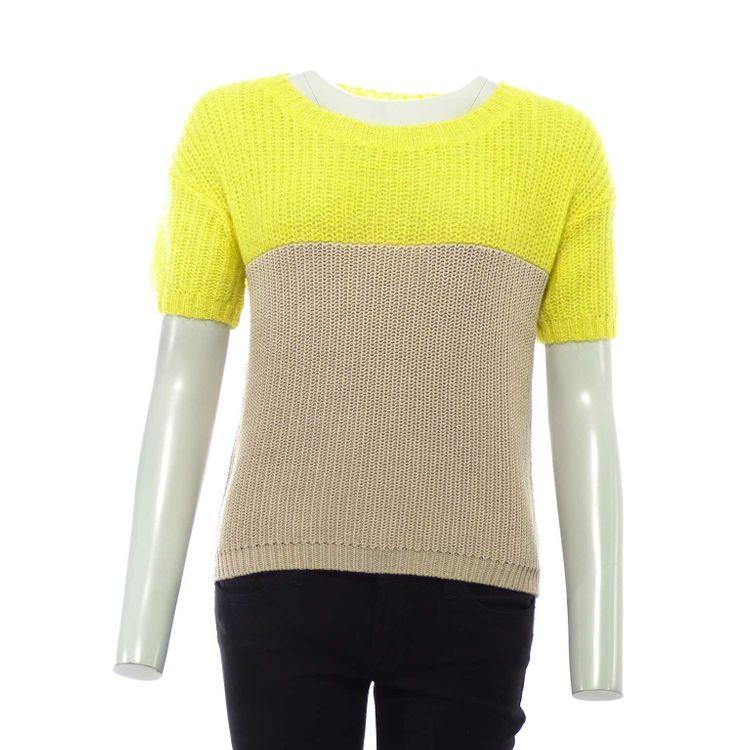 Marc O'Polo kurzarm Strick Shirt Pullover Gr. S in Beige Gelb (HH) – Bild 1
