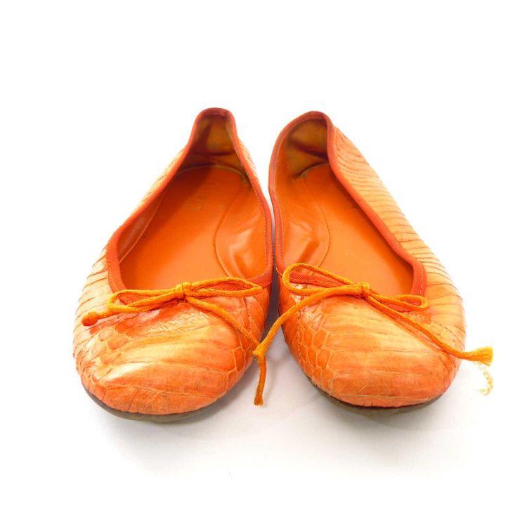 Ralph Lauren Leder Ballerinas Schuhe Gr. 39 in Orange Reptiloptik (HH)  – Bild 3