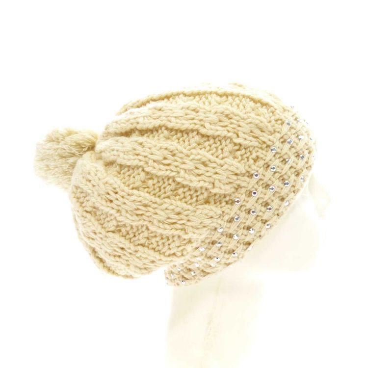 Gaastra Bommel Mütze Gr. 56 in Beige mit Wolle & Nieten (AHB) – Bild 2