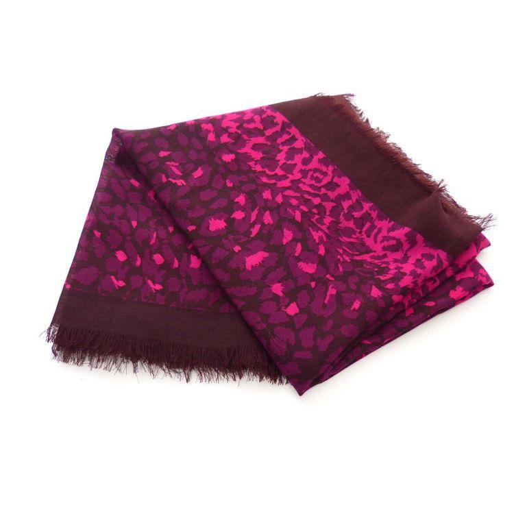 Marc Jacobs Schal Tuch in Pink Lila Bordeaux Leoparden Optik (HH) – Bild 1
