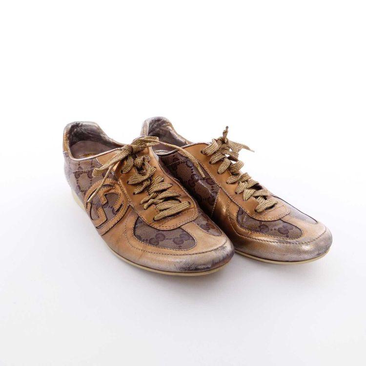 Gucci GG Canvas Leder Schnürschuhe Sneaker Schuhe Gr. 38,5 in Bronze Braun (AHB) – Bild 2