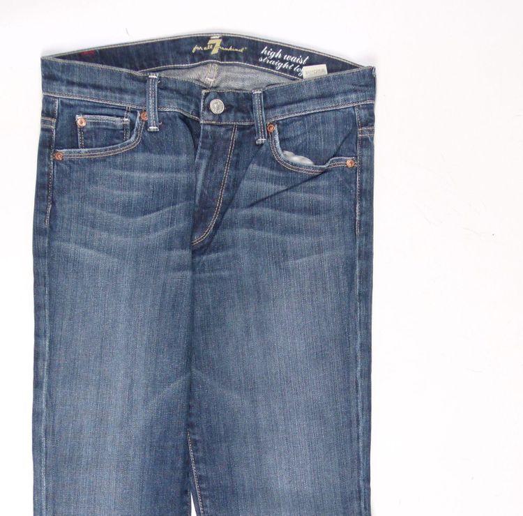 7 Seven for all Mankind Straight Leg Jeans Hose W 28 in Blau (AHB) – Bild 2