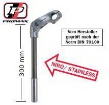 Lenkervorbau PROMAX  Alu 22.2/25.4-85/300 mm silber  Winkel 0-50^ – Bild 1