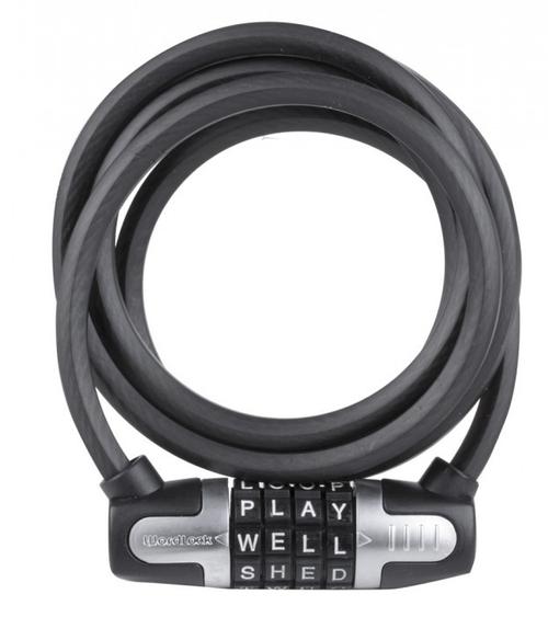 Wordlock Buchstaben Spiralkabelschloss 8 x 1.500 mm mit ClipOn-Halter