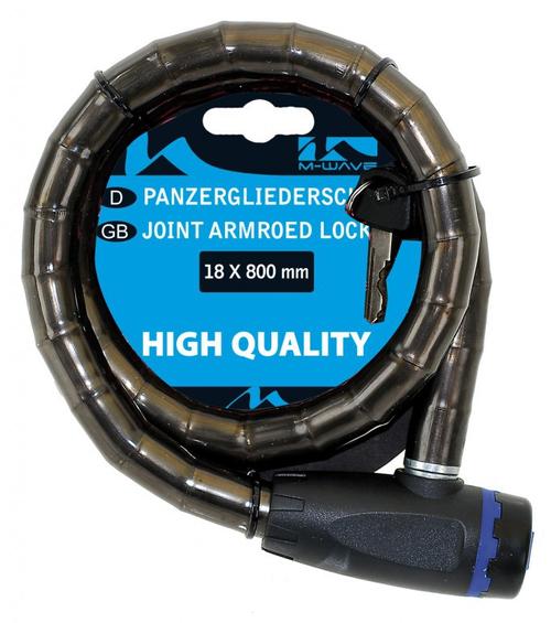 Panzerglieder Schloss M-Wave 18 X 800 mm transparent Smoke mit Flachschlüssel – Bild 1