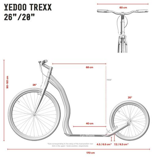 "Yedoo Tretroller Trexx Alu red/black 26""20"" Sport u. Allroundroller – Bild 4"
