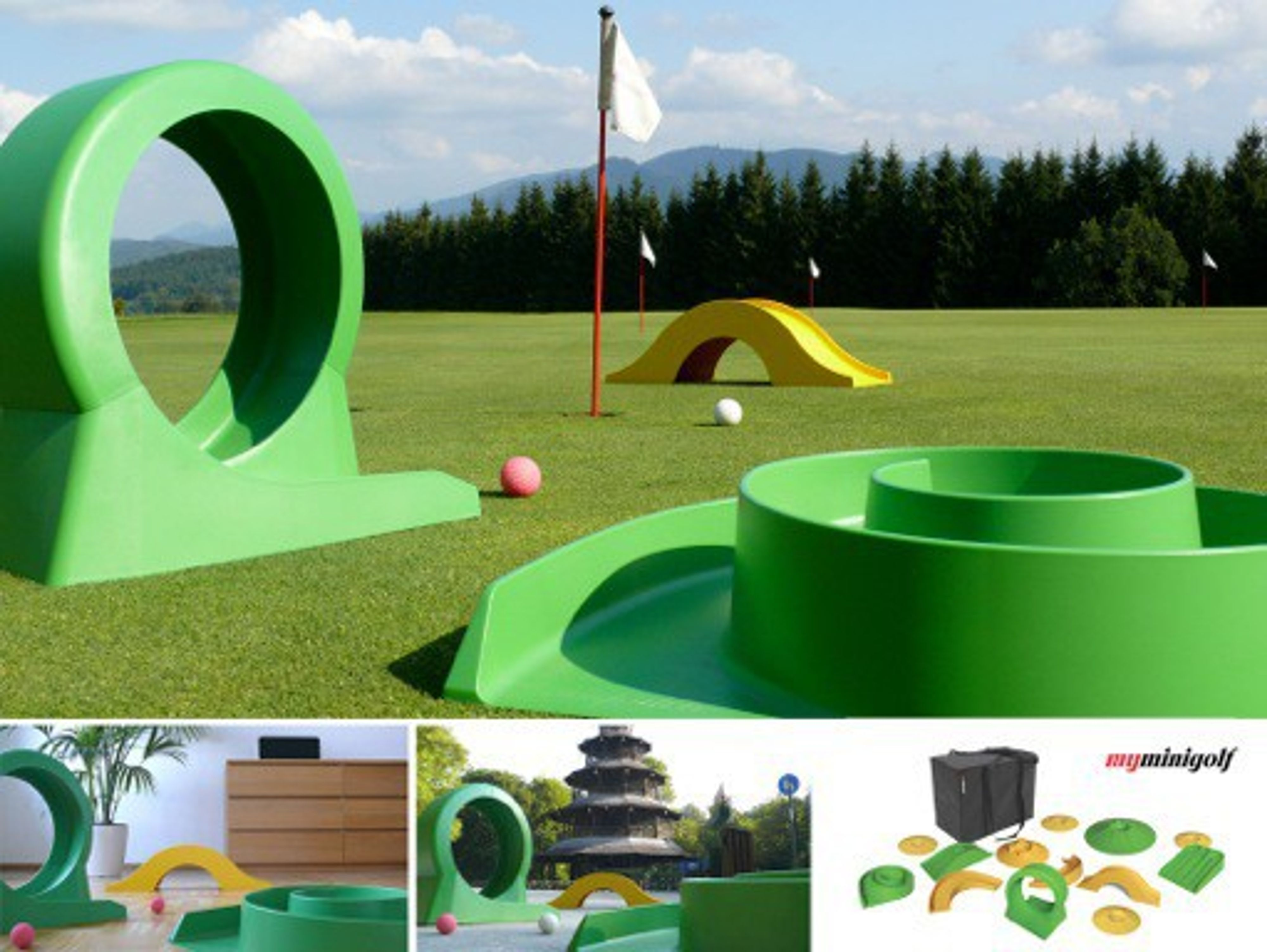 myminigolf to go komplett set basic minigolf to go f r innen und au en minigolf set. Black Bedroom Furniture Sets. Home Design Ideas