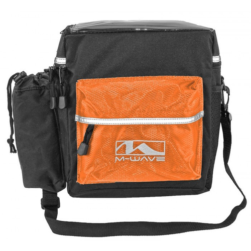 M-Wave Clip-On Lenkertasche m. Flaschenhalter Utrecht Travel Orange/Schwarz – Bild 1