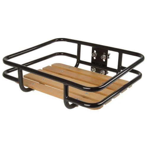 VENTURA Vorderrad - Gepäckträger Retro schwarz mit Holz – Bild 1