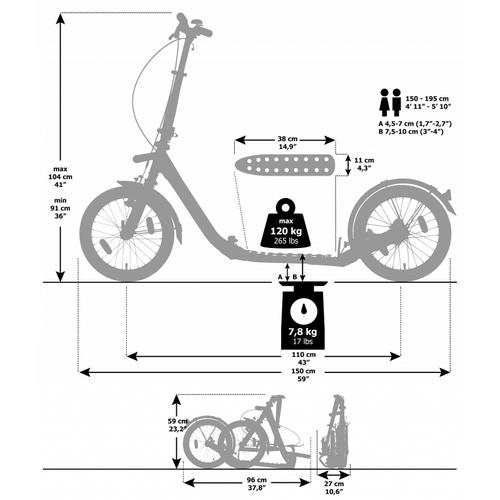 """Kickbike Clix 2.0 Klapproller Faltroller weiß 16"""" Tretroller Luftbereifung – Bild 4"""