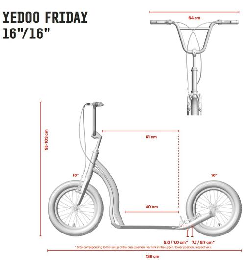 "Yedoo Tretroller Friday Alu brightgreen 16""16""  Cityroller  – Bild 3"