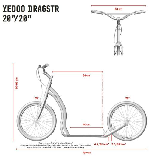 """Yedoo Dragstr Alu Scooter blue 20""""20"""" Dogscooter Tretroller Erwachsene – Bild 3"""