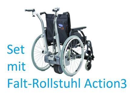 Alber Viamobil V25 elektrische Schiebehilfe, inkl. Action3 NG Premium-Leichtgewicht-Rollstuhl, fertig montiert, bis 125kg belastbar