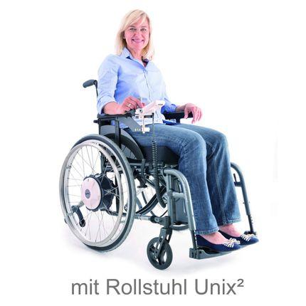 Alber E-Fix E35 elektrischer Zusatzantrieb, inklusive Standard-Rollstuhl Unix2, fertig vormontiert