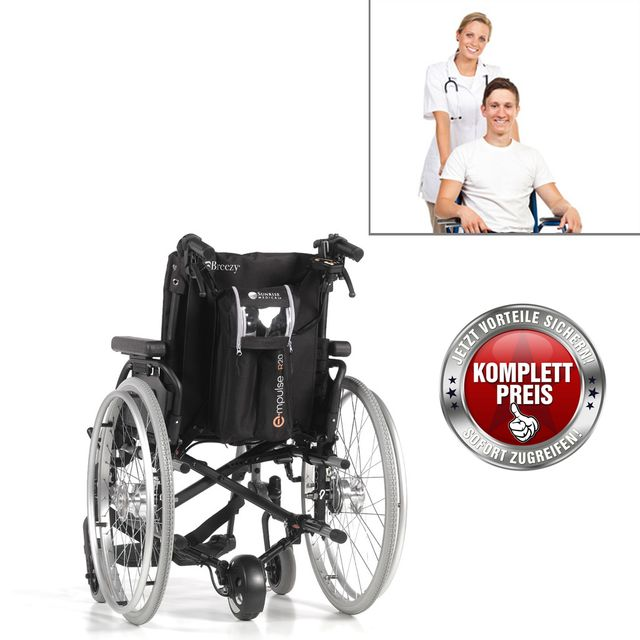 Sunrise Medical R20 Schiebehilfe mit Breezy BasiX2, fertig vormontiert, extrem leichte Rollstuhlschiebehilfe mit Leichtgewichts-Rollstuhl und einzigartiger Faltfunktion, inkl. Trommelbremse (Aktion)