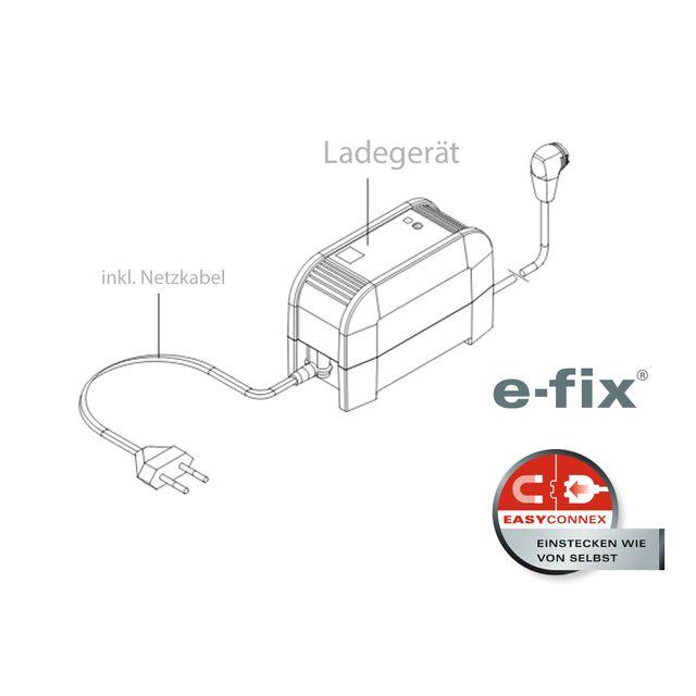 Alber Ladegerät für efix E35/E36, Kontaktierung zu Akku mit intuitivem Magnetstecker EasyConnex, automatische Anpassung an die Netzspannung  (90–240) inkl. Netzkabel